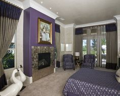 Large trendy master carpeted bedroom photo in Sacramento with a tile fireplace, beige walls and a standard fireplace