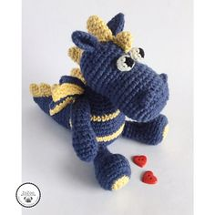 Cute handmade crochet baby dragon