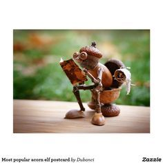 Most popular acorn elf postcard Zazzle com is part of Acorn crafts - Most popular acorn elf postcard with acorn elf sitting on the toilet and reading newspapers Creative Crafts, Diy And Crafts, Craft Projects, Crafts For Kids, Arts And Crafts, Kids Diy, Handmade Crafts, Fall Crafts For Adults, Adult Crafts