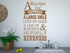 A full kitchen recipe for happiness wall stickers, adhesive transfers Kitchen Quotes, Kitchen Wall Stickers, Vinyl Wall Art, Kitchen Recipes, Hugs, Kisses, Adhesive, Happiness, Jar