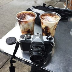 ice coffees and camera