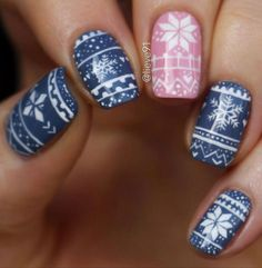 Snowflake winter nail art design,winter nail polish,winter nail color ideas,winter nail design ideas