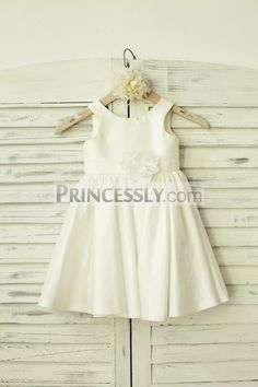Simple Ivory Taffeta Flower Girl Dress