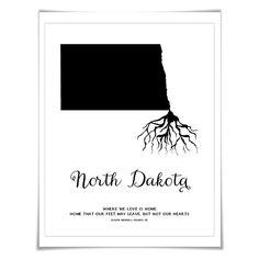 North Dakota Art Print. 5 Sizes/60 Colours. State Map Poster. North Dakota Map. Custom State Art