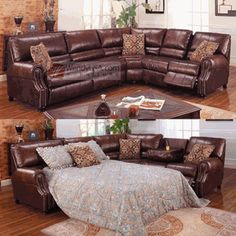 3 Pieces Chocolate Bonded Leather Reclining Sofa Sleeper Sectional $1959