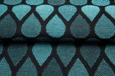 Raindrops Turquoise & Black #weavingstudio #fabricart #cottonfabric #raindrops #turquoise #black #turquoise&black