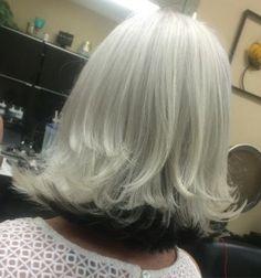 White Blonde Long Bob With Black Underlayer
