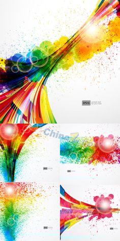 Inkjet color vector background illustration