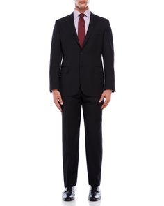 Hickey Freeman Black Milburn II Wool Suit