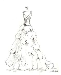 custom gown sketch great gift for anniversary or by dresssketch