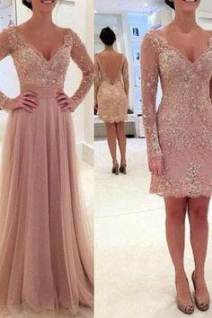 V-Neck Tulle Prom Dress,Long Sleeve Prom Dresses,Evening Dress