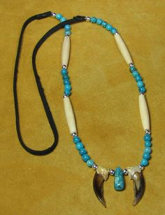 Badger Claw Necklace with Turquoise. Native American Art, American Indians, White Necklace, Beaded Necklace, Indian Artist, Turquoise Jewelry, Art For Sale, Badger, Beaded Collar
