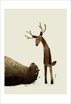 bear and deer illustration by Jon Klassen - childrens book I Want My Hat Back Art And Illustration, Illustration Mignonne, Illustrations Posters, Illustrators, Book Art, Jon Klassen, Art Gallery, Drawings, Artwork