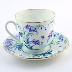 Russian Imperial Lomonosov Porcelain Tea Cup and Saucer Forget Me not LFZ RARE…
