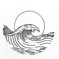 Line Art Waves Character Design Ocean Wave Drawing, Surf Drawing, Wave Art, Line Drawing, Ocean Drawing Easy, Art And Illustration, Ink Illustrations, Line Art Tattoos, Aesthetic Drawing