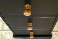 wine cork projects--champagne cork drawer pulls from dollar store crafts