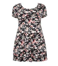 Inspire Black Floral Print Cap Sleeve Skater Dress