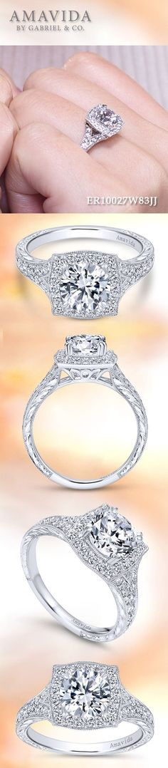 AMAVIDA by Gabriel & Co.-Voted #1 Most Preferred Fine Jewelry and Bridal Brand. Meet Felicity - 18k White Gold Round Halo Engagement Ring.