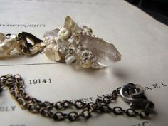 Victorian sci-fi encrusted clear quartz crystal necklace with vintage element- Ghost of the Kraken-