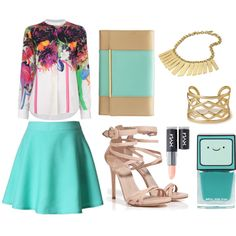 A fashion look from June 2013 featuring long sleeve blouse, skater skirt and high heeled footwear. Browse and shop related looks. Skater Skirt, Fashion Looks, Turquoise, Blouse, Long Sleeve, Skirts, Polyvore, Sleeves, Shopping