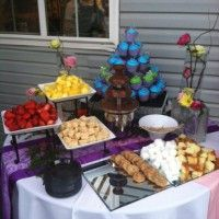 Chocolate Fountain and cupcakes.