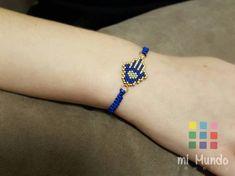 Hamsa Bracelet Miyuki Blue Gold Beaded Bracelet by MiMundoJewelry