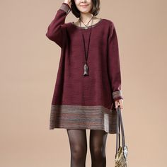 Wine Red Long sleeve Round Neck Sweater