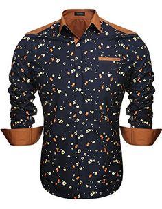 Aulei #Herrenhemd slim Fit langarm mit Blumendruck Freizeit Business Bügelleicht  Business casual Hemd von Aulei Kentkragen, slim fit, gefälschte Vordertasche Kragenform: Kent