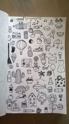 30 Super Cute How To Doodles For Your Bullet Journal Bullet Journal Art, Bullet Journal Ideas Pages, Bullet Journal Inspiration, Tumblr Drawings, Art Drawings Sketches, Easy Drawings, Mini Drawings, Tumblr Art, Small Drawings