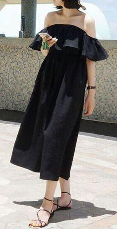 Black Off Shoulder Ruffle Skater Midi Dress
