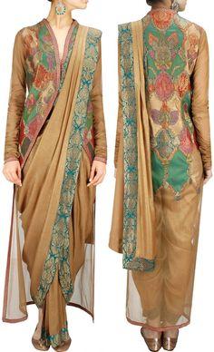 Applique high-low blouse designed By Ashima Leena @ Looksgud.in #Designer #Blouse #HighLow