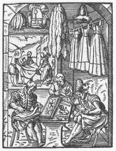 """Jost Amman Das Ständebuch (""""Book of Trades""""), published in 1568 The Furrier 17th Century Fashion, 16th Century, Medieval, German Outfit, Steinmetz, Embroidery Tools, Landsknecht, Amman, Historical Clothing"""