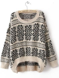 White Long Sleeve Tribal Print Mohair Sweater to keep cozy, warm, and cute in!