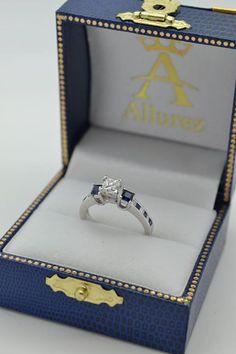 Princess Cut Diamond & Sapphire Engagement Ring 14k White Gold (0.68ct) - Allurez.com