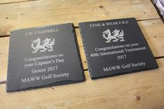 This bespoke Welsh slate order was designed to be given as two presentation plaques.  Any of our Welsh slate can be personalised in our Swansea store or online at www.valleymill.co.uk