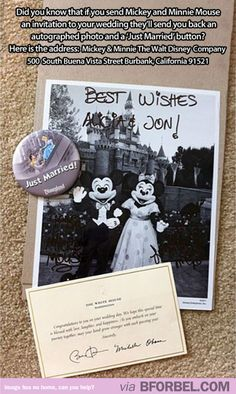 Send your wedding invitation to Mickey and Minnie Mouse