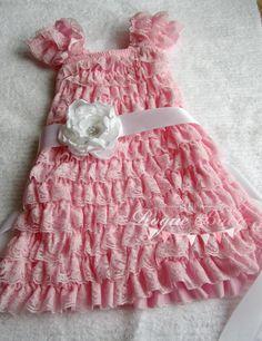 Baby Pink Cap Sleeve Ruffle Lace Petti Dress  by TheRogueBaby, $32.00
