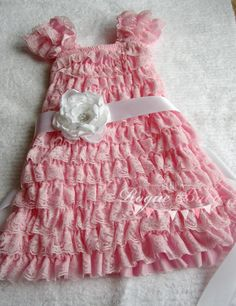 Pink Cap Sleeve Ruffle Lace Petti Dress with Satin Sash  by TheRogueBaby