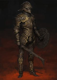 """spassundspiele: """"Hell Knight 2 – fantasy character concept by Ariel Perez """" Having grown up on a farm, those Uruk-hai style swords always make me think of a huge beet knife. High Fantasy, Fantasy Rpg, Medieval Fantasy, Dark Fantasy Art, Fantasy Male, Fantasy Character Design, Character Design Inspiration, Character Art, Character Concept"""