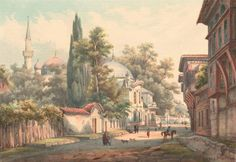 Painting of Eyüp Sultan Mosque in Istanbul, Turkey - Drawings | IslamicArtDB.com