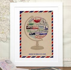 Personalised Passport Stamp Globe Unframed Print