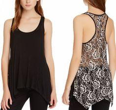 H.I.P. Black White Lace Back Racerback Sleeveless Dressy Tank Top S or M NWT $69 #HIP #TankCami #Casual
