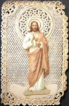 Antique 1800's French Lace Holy Card ... Jesus With Eucharist