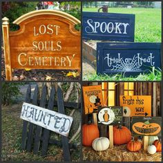 Great Halloween signs from repurposed items!