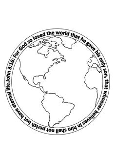 free printable template colouring craft john 3 verse 16 for god so loved the world. for Kids Craft.