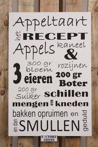 appeltaart recept op een tekstbord Cool Presents, Dutch Quotes, Did You Eat, New Hobbies, Cakes And More, High Tea, Funfetti Cake, Amazing Cakes, Funny Texts