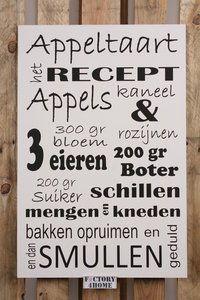 appeltaart recept op een tekstbord