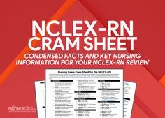 Nursing Exam Cram Sheet for NCLEX-RN