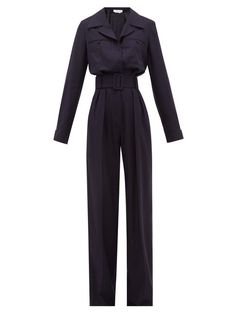 Gabriela Hearst Weil Belted Silk-blend Jumpsuit In Navy Classy Outfits, Cute Outfits, Women's Fashion Dresses, Jumpsuits For Women, Aesthetic Clothes, Women Wear, Gabriela Hearst, Clothes For Women, How To Wear