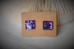 RESIN Earring Gem SQUARE Earring Purple / Blue Hexagon